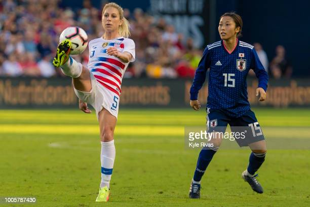 McCall Zerboni of USA most the ball past Moeno Sakaguchi of Japan during the second half of the 2018 Tournament Of Nations on July 26 2018 at...