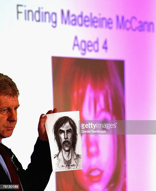 McCann family spokesman Clarence Mitchell holds an artist's impression of the new suspect on January 20 2008 in London England The description has...