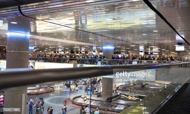mccarran international airport, las vegas tsa and baggage claim - mccarran international airport stock photos and pictures