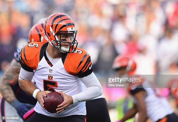 McCarron hands off the ball during the fourth quarter of a game against the New England Patriots at Gillette Stadium on October 16 2016 in Foxboro...