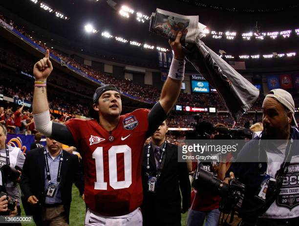 McCarron of the Alabama Crimson Tide celebrates after defeating Louisiana State University Tigers in the 2012 Allstate BCS National Championship Game...