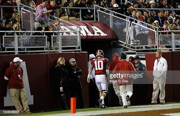 McCarron of the Alabama Crimson Tide heads to the locker room at the beginning of the fourth quater against the Mississippi State Bulldogs at...