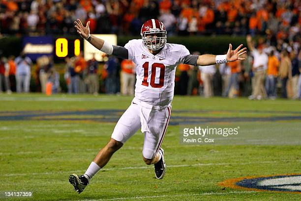 McCarron of the Alabama Crimson Tide reacts after a touchdown against the Auburn Tigers at JordanHare Stadium on November 26 2011 in Auburn Alabama
