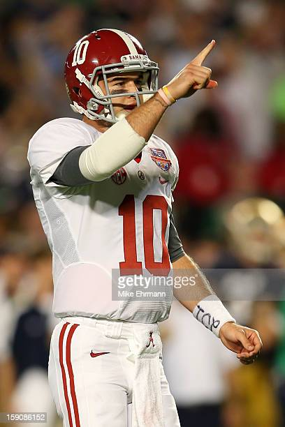 McCarron of the Alabama Crimson Tide reacts after a touchdown in the first quarter against the Notre Dame Fighting Irish during the 2013 Discover BCS...