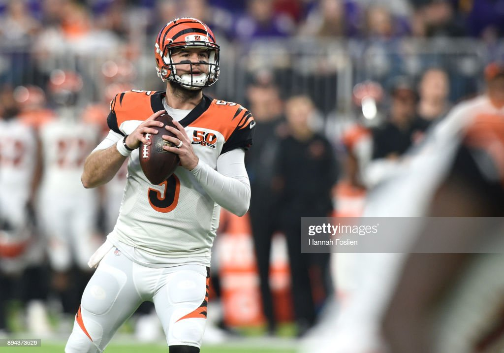 AJ McCarron #5 of the Cincinnati Bengals looks to pass the ball in the fourth quarter of the game against the Minnesota Vikings on December 17, 2017 at U.S. Bank Stadium in Minneapolis, Minnesota.