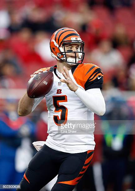 McCarron of the Cincinnati Bengals passes the ball against the San Francisco 49ers during their NFL game at Levi's Stadium on December 20 2015 in...