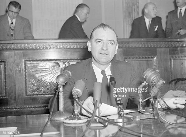 """McCarthy Speaks to Newsmen. Washington, D.C.: Sen. Joseph McCarthy, appearing before a group of newsmen on December 3rd, said that it is """"ridiculous..."""