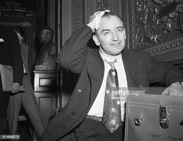 McCarthy Talked All Day. Washington, DC: Senator Joseph McCarthy wipes perspiration from his brow after completing nearly day-long Senate floor...