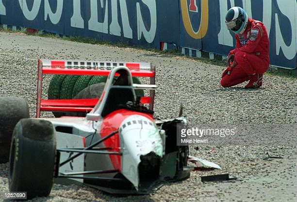 McCLAREN AFTER CRASHING OUT SHORTLY AFTER THE START OF THE GERMAN GRAND PRIX AT HOCKENHEIM GERMANY Mandatory Credit Mike Hewitt/ALLSPORT