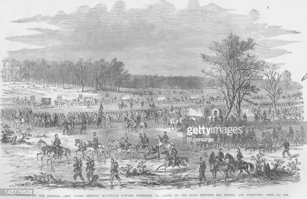 McClellan's Troops Advance Toward Yorktown Big Bethel Virginia April 5 1862 From an issue of Frank Leslie's Illustrated Almanac