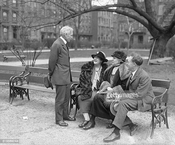 McClure's Magazine staff and contributors meet on a park bench Publisher SS McClure novelist Willa Cather and journalists Ida Tarbell and Will Irwin