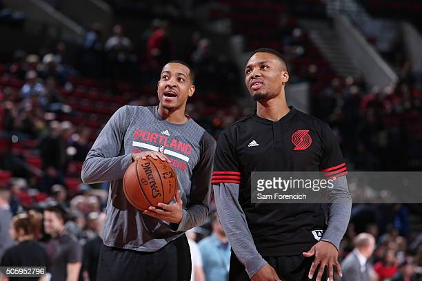 J McCollum and Damian Lillard of the Portland Trail Blazers before the game against Atlanta Hawks on January 20 2016 at Moda Center in Portland...