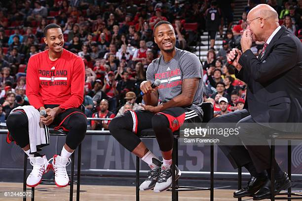J McCollum and Damian Lillard of the Portland Trail Blazers talk to the media during the team's annual Fan Fest event October 2 2016 at the Moda...