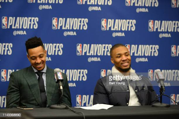 McCollum and Damian Lillard of the Portland Trail Blazers talks with the media after the game against the Denver Nuggets during Game Seven of the...