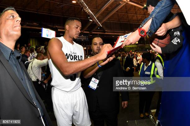 McCollum of Team World signs autographs after the game against Team Africa in the 2017 Africa Game as part of the Basketball Without Borders Africa...