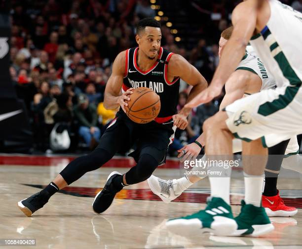 McCollum of the Portand Trail Blazers dribbles against the Milwaukee Bucks at Moda Center on November 6 2018 in Portland Oregon NOTE TO USER User...