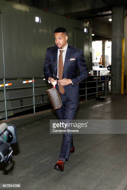 McCollum of the Portland Trail Blazers arrives at the arena before the game against the New Orleans Pelicans in Game Two of Round One of the 2018 NBA...