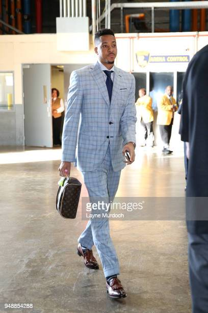 McCollum of the Portland Trail Blazers arrives at the stadium before the game against the New Orleans Pelicans in Game Three of Round One of the 2018...