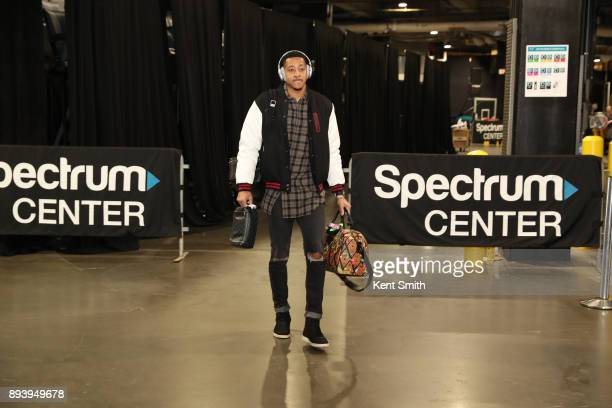 McCollum of the Portland Trail Blazers arrives before the game against the Charlotte Hornets on December 16 2017 at Spectrum Center in Charlotte...