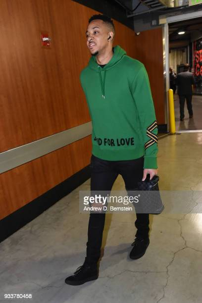 McCollum of the Portland Trail Blazers arrives before the game against the LA Clippers on March 18 2018 at STAPLES Center in Los Angeles California...