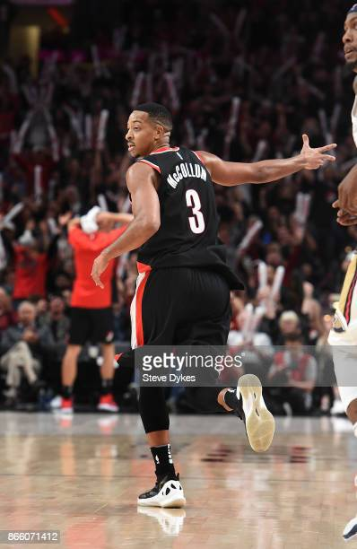McCollum of the Portland Trail Blazers celebrates after hitting a shot during the fourth quarter of the game against the New Orleans Pelicans at Moda...