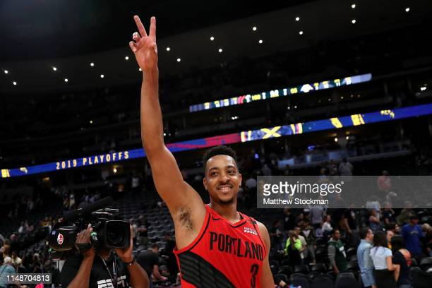 McCollum of the Portland Trail Blazers celebrates their win against the Denver Nuggetts during Game Seven of the Western Conference Semi-Finals of...