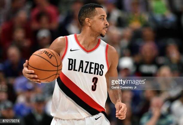 McCollum of the Portland Trail Blazers controls the ball during their game against the Utah Jazz at Vivint Smart Home Arena on November 01 2017 in...