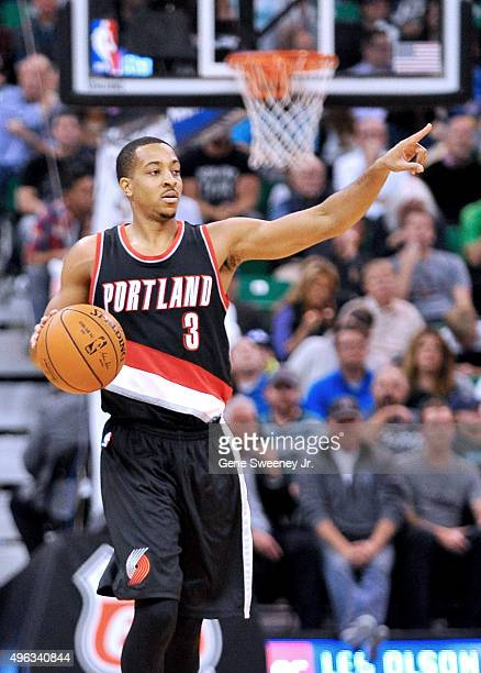 J McCollum of the Portland Trail Blazers directs play against the Utah Jazz at Vivint Smart Home Arena on November 4 2015 in Salt Lake City Utah NOTE...