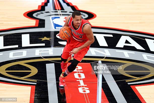 McCollum of the Portland Trail Blazers dribbles in the Taco Bell Skills Challenge during NBA AllStar Weekend 2016 at Air Canada Centre on February 13...