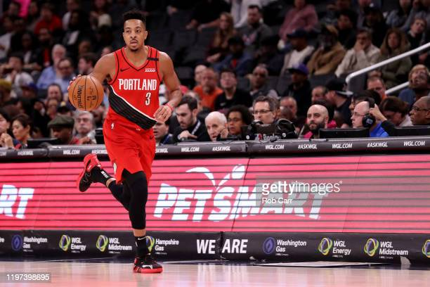 McCollum of the Portland Trail Blazers dribbles the ball against the Washington Wizards at Capital One Arena on January 03, 2020 in Washington, DC....