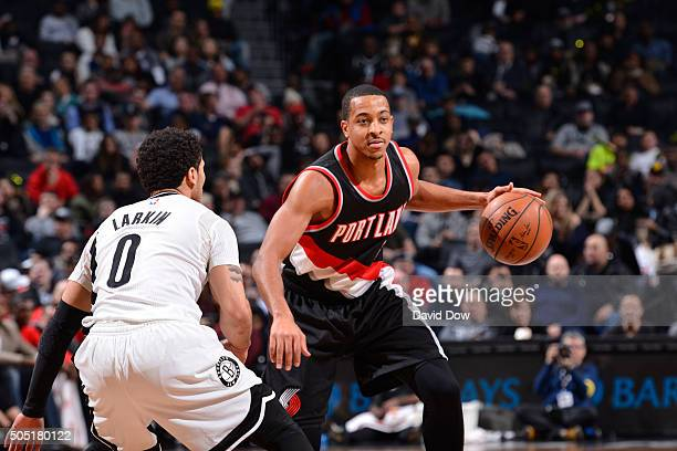 J McCollum of the Portland Trail Blazers dribbles the ball against the Brooklyn Nets on January 15 2015 at Barclays Center in Brooklyn New York NOTE...
