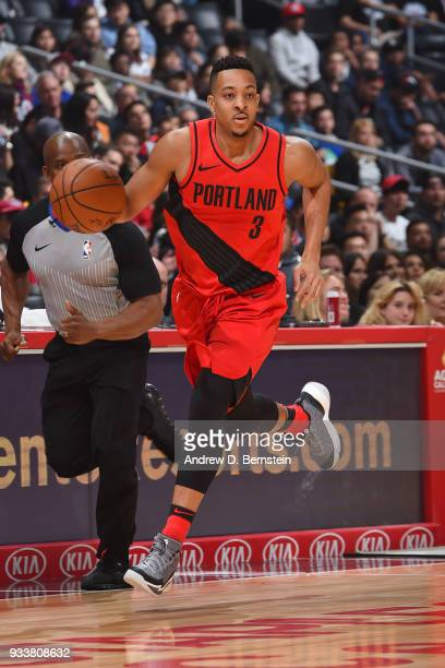 McCollum of the Portland Trail Blazers dribbles the ball during the game against the LA Clippers on March 18 2018 at STAPLES Center in Los Angeles...