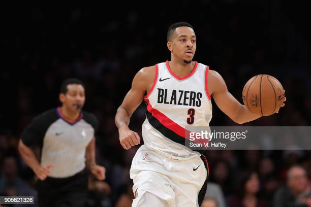 McCollum of the Portland Trail Blazers dribbles upcourt during the second half of a game against the Los Angeles Lakers at Staples Center on December...