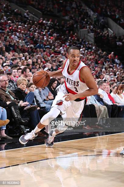 J McCollum of the Portland Trail Blazers drives to the basket against the Utah Jazz on February 21 2016 at the Moda Center in Portland Oregon NOTE TO...