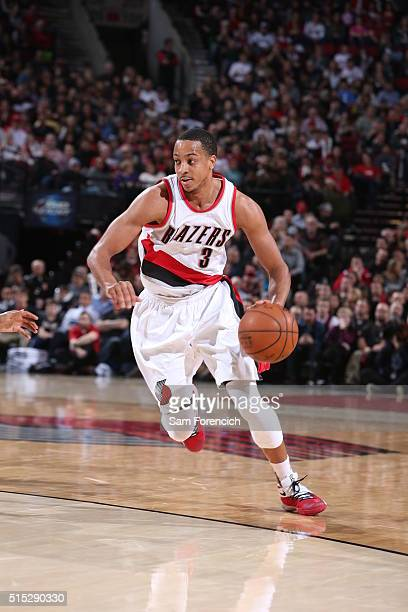 J McCollum of the Portland Trail Blazers drives to the basket against the Orlando Magic on March 12 2016 at the Moda Center in Portland Oregon NOTE...
