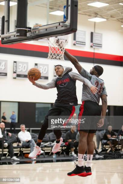 McCollum of the Portland Trail Blazers drives to the basket during an all access practice on December 7 2017 at the Trail Blazer Practice Facility in...