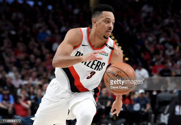 McCollum of the Portland Trail Blazers drives to the basket during the second half of Game Six of the Western Conference Semifinals against the...