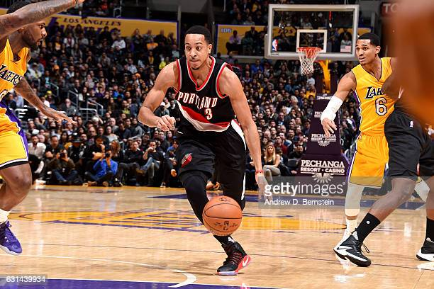 J McCollum of the Portland Trail Blazers drives to the basket during the game against the Los Angeles Lakers on January 10 2017 at STAPLES Center in...