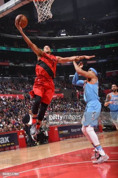 McCollum of the Portland Trail Blazers drives to the basket during the game against the LA Clippers on March 18 2018 at STAPLES Center in Los Angeles...