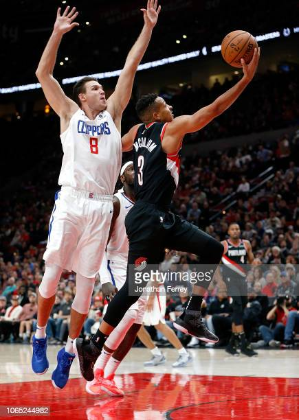 McCollum of the Portland Trail Blazers drives to the hoop against the Los Angeles Clippers at Moda Center on November 25 2018 in Portland Oregon NOTE...