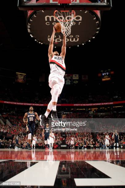 McCollum of the Portland Trail Blazers dunks the ball against the New Orleans Pelicans in Game Two of the Western Conference Quarterfinals during the...