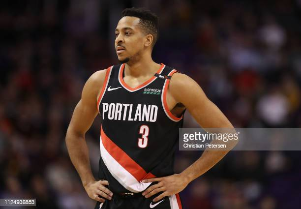 McCollum of the Portland Trail Blazers during the first half of the NBA game against the Phoenix Suns at Talking Stick Resort Arena on January 24...