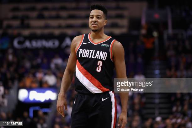 McCollum of the Portland Trail Blazers during the first half of the NBA game against the Phoenix Suns at Talking Stick Resort Arena on December 16,...