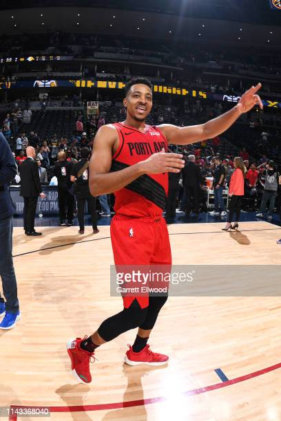 McCollum of the Portland Trail Blazers exits the court after winning Game Seven of the Western Conference SemiFinals of the 2019 NBA Playoffs against...