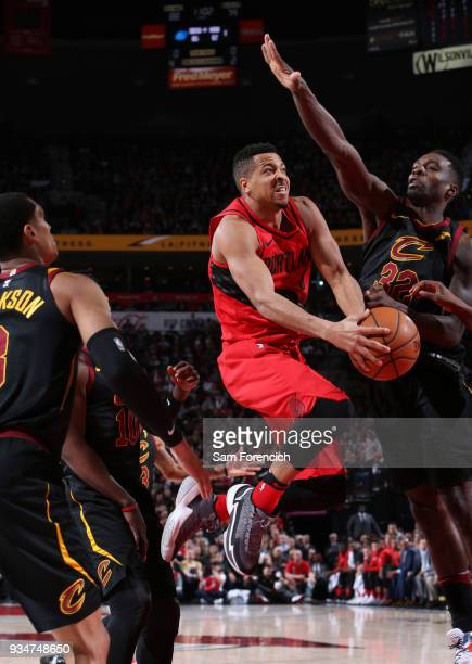 McCollum of the Portland Trail Blazers goes for a lay up against the Cleveland Cavaliers on March 15 2018 at the Moda Center Arena in Portland Oregon...