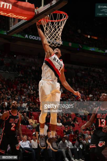 McCollum of the Portland Trail Blazers goes to the basket against the Miami Heat on December 13 2017 at American Airlines Arena in Miami Florida NOTE...