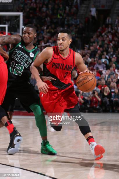 McCollum of the Portland Trail Blazers goes to the basket against the Boston Celtics on March 23 2018 at the Moda Center in Portland Oregon NOTE TO...