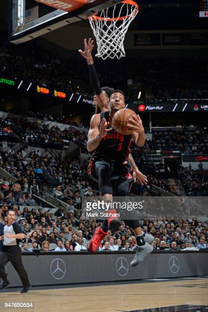 McCollum of the Portland Trail Blazers goes to the basket against the San Antonio Spurs on April 7 2018 at the ATT Center in San Antonio Texas NOTE...