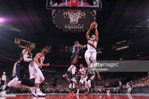 McCollum of the Portland Trail Blazers goes to the basket against the New Orleans Pelicans in Game One of the Western Conference Quarterfinals during...