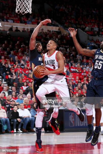 McCollum of the Portland Trail Blazers goes to the basket against the New Orleans Pelicans in Game Two of Round One of the 2018 NBA Playoffs on April...